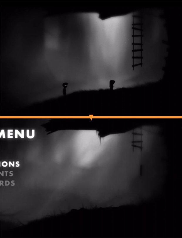 Top: end scene of the game Bottom: menu screen